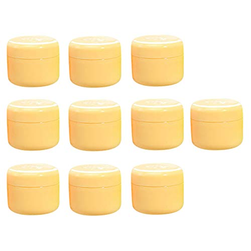 Sharplace 10 pièces Pot Vide Cosmétique en Plastique Bocaux Stockage de Crèmes Échantillon Vide - Jaune-20g