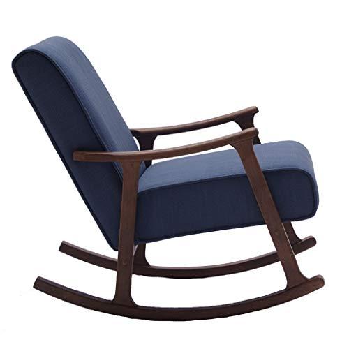 HYYTY-Y Moderner Fauler Couch-Schaukelstuhl, Beine Aus Massivem Holz Mit Abnehmbarem Kissen Und Fußstütze (Color : Blue+Pedal)