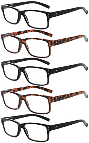 Eyekepper Vintage Mens Reading Glasses-5 Pack(3 Pairs Black and 2 Pairs Tortoise) Glasses for Men Reading,+2.00 Reader Eyeglasses Women