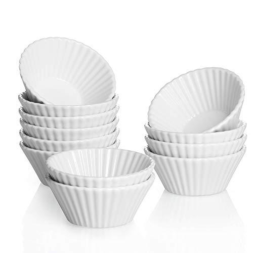 Sweese 528.001 Cupcake Formen aus Porzellan, 8 cm Mini Muffin Förmchen, Wiederverwendbare Antihaftbeschichtung Backförmchen 12er Set, Weiß
