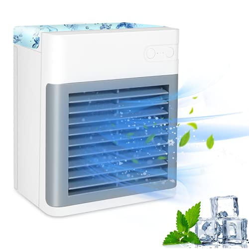 Portable Air Conditioner, Rechargeable Quiet USB Evaporative Mini Air Conditioner Fan with 3 Speeds, Air Cooler for Room/Bedroom/Office/Dorm/Camping
