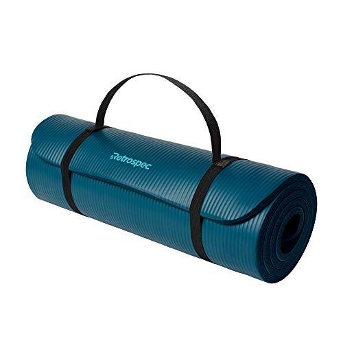 Retrospec Solana Yoga Mat Thick w/Nylon Strap for Men & Women, Ocean Blue, 1/2 inch