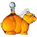 Decantador De Whisky con Forma Animal,1000 Ml con Tapón De Vidrio De Borosilicato Soplado a Mano, Oficina, Dormitorio, Sala De Estar