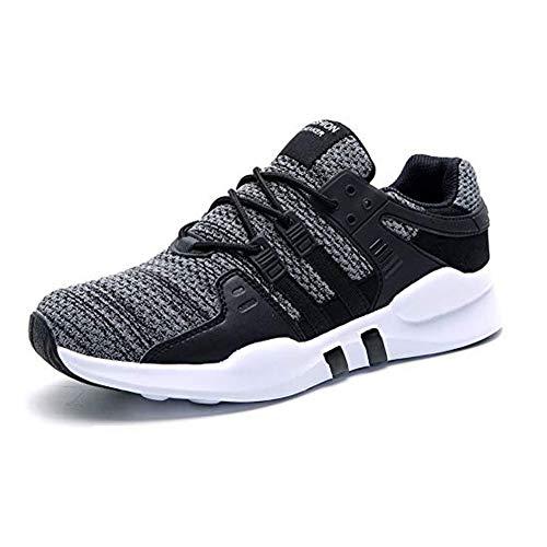 HUSK'SWARE Laufschuhe Herren Sportschuhe Joggingschuhe Turnschuhe Walkingschuhe Straßenlaufschuhe Sneaker,Schwarz Grau,44 EU