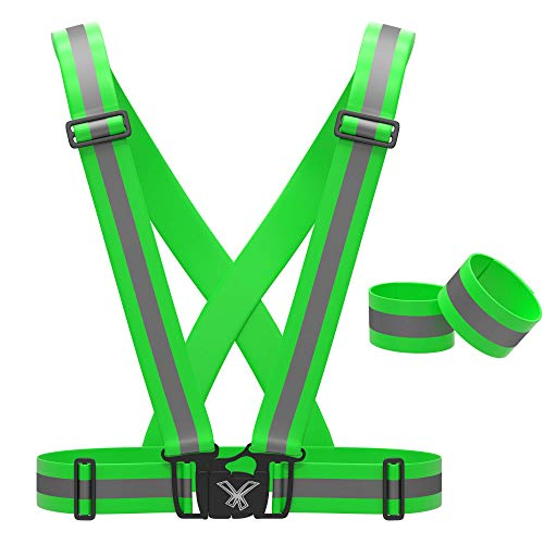 247 Viz Reflective Vest with Hi Vis Running Bands, Fully Adjustable & Multi-Purpose Safety Vest: Night Running Gear, Cycling Gear, Motorcycle Safety, Dog Walking & More - High Visibility Neon Green
