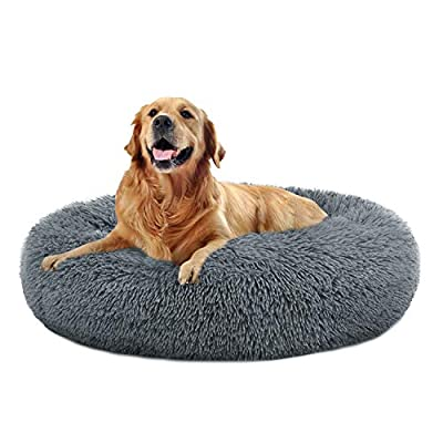 OQQ Round Donut Cat and Dog Cushion Bed, Pet Bed for Cats or Multiple Dogs, Anti-Slip & Water-Resistant Bottom, Super Soft Durable Fabric Pet Supplies, Machine Washable Luxury Cat & Dog Bed