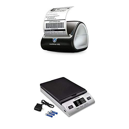 DYMO LabelWriter 4XL Label Maker and Accuteck All-In-One Series W-8250-50BS A-PT 50 Digital with AC Adapter (Silver) Bundle