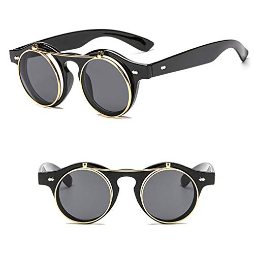 YIERJIU Gafas de Sol Cool Metal Flip Cover Gafas de Sol Hombres Mujeres Retro Gafas De Sol Shades Round Steampunk Vintage Shades Punk Gafas de Sol Oculos Uv400,Schwarz