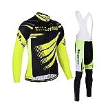 LIXIAOHONGG Ropa Ciclismo Hombre De Invierno, Ropa De Ciclismo para Hombre,3D Acolchado Gel Ropa Térmica Ciclismo Camiseta Bicicleta+Culote Ciclismo (Color : Yellow, Size : A(S))