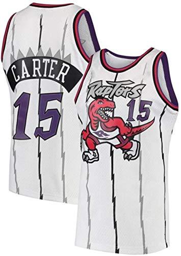 Zxwzzz Jersey NBA Raptors No.15 Carter De Los Hombres, Sin Mangas Bordado De Malla De Baloncesto Chaleco De La Camiseta, Retro Fitness Sports Fan Jersey (Color : White, Size : XX-Large)