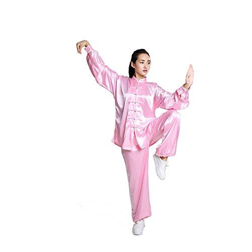 (ジ-ライク) G-like メンズ レディース 長袖 太極拳服 上下セット シルク 功夫服 練習 演舞用 xxl (M, ピンク)