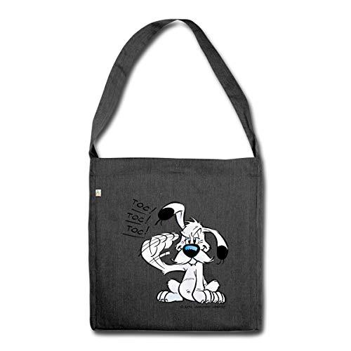 Spreadshirt Asterix & Obelix Idefix Klopft Toc Toc Toc Schultertasche aus Recycling-Material, Schwarz meliert