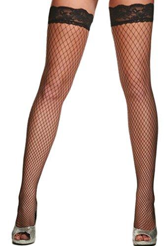 HO-Ersoka Damen Netz Strümpfe halterlos fein mit Spitzen Saum schwarz