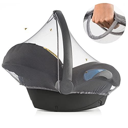 Mosquitera Grupo 0+ Zamboo compatible con Maxi cosi, Cybex, Römer   Red antiinsectos para silla de coche, resistente, goma elástica, abertura asa - Gris
