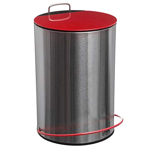Poubelle 5 litres en métal coquelicot - D 20,5 cm x H 32,4 cm