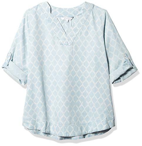 Foxcroft Women's Harmony Distressed Trefoil Tencel Shirt, Bluewash, 18
