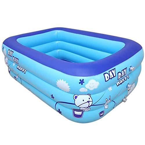 VOSAREA Aufblasbarer Schwimmbad Kinder Rechteckig Kinderpool Familien Planschbecken Kinderschwimmbad Kinderbecken Baby Badewanne Babyschwimmbad für Erwachsene Gartenspielzeug