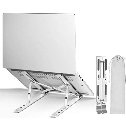 """Laptop Stand, Portable Aluminum Cooling Adjustable Laptop Riser Computer Holder for Desk, Foldable Ventilated Notebook Stand for MacBook Pro/Air/HP/Lenovo/Sony/Dell, More 10-15.6"""" Laptops, Tablet"""
