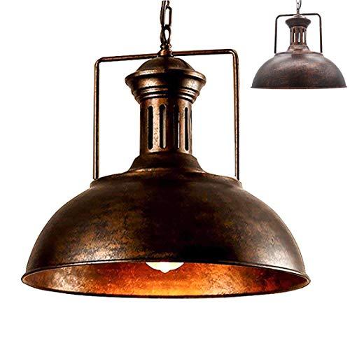 Vintage colgante granero Metal Industrial luz lámpara sombra antiguo recipiente en forma de hierro forjado ajustables cadenas techo luz araña (Moho, 33CM)