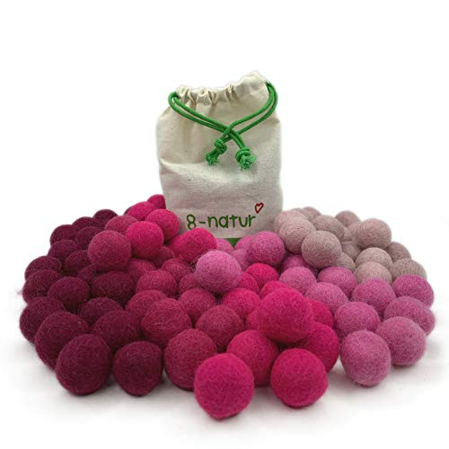 8-Natur 'Mix Pink' colourful mix of 100 felt balls, 2.4 cm thick, made of pure merino wool for crafting garlands, baby mobile and felt ball carpet or just for decoration.