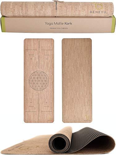beneyu ® Langlebige & Rutschfeste Kork Yogamatte - Made in EU - Schadstofffreie Yogamatte für Anspruchsvolle und Profis (190x70cm) (Kork (ohne Linien), 190 x 70 x 0,3 cm)