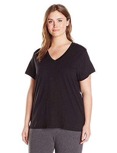 HUE Plus Size Women's Short Sleeve V-Neck Sleep Tee, Black, 2X