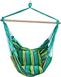 Hanging Rope Hammock Chair Swing Seat Cotton Weave Porch Swing Chair for Indoor,Outdoor,Garden,Patio,Porch,Yard (Multicolor 2,100x100x130CM)