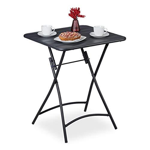 Relaxdays Tavolino da Balcone Pieghevole, Tavolo da Giardino Quadrato, in Acciaio, HxLxP: 74 x 59 x 59 cm, Antracite, 1 pz