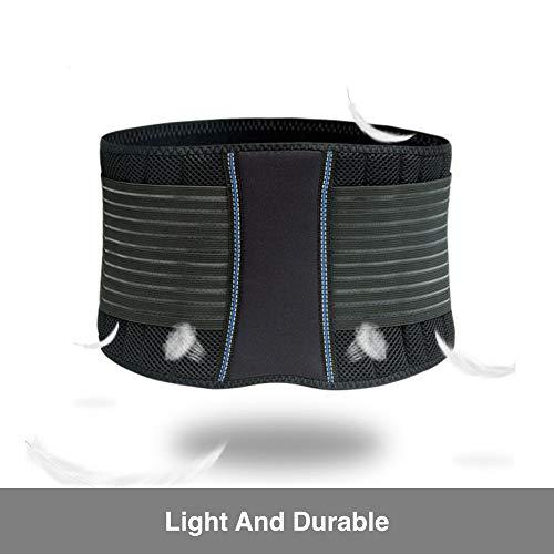 BraceUP Stabilizing Lumbar Lower Back Brace Support Belt Dual Adjustable Straps Breathable Mesh Panels (L/XL)