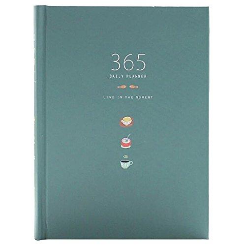 Linda 365 Días Planner recargas diario semanal mensual Calendario Calendario portátil Bound To-Do List libro Agenda Organizador Escuela de papelería, Azul profundo
