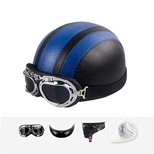 Casco Moto Retro Abierto, ECE Homologado,Profesional Half Moto Helmet para Mujer y Hombre, Adultos Confortable Casco para Street Bike Cruiser Chopper Moped Scooter