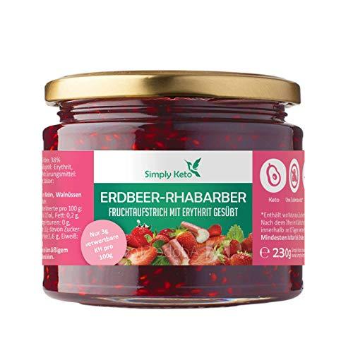 Simply Keto | Erdbeer-Rhabarber Fruchtaufstrich mit Erythrit | im 230g Glas | aus eigener Produktion in Berlin | optimal für Low-Carb, Keto, Paleo, vegane, ketogene Ernährung (Erdbeer-Rhabarber)