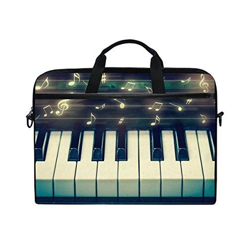 Ahomy 38,1-15,4 Zoll Laptop-Tasche, Musiknote, Tastatur, Leinenstoff, Laptop-Tasche mit Schultergurt für Damen und Herren