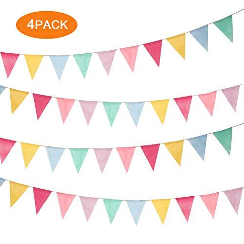 EasyULT Wimpelkette Wimpel Banner Girlande Dekoration[4 Stück], Mehrfarbig Stoff Dreieck Flagge, Leinenimitat Banner für Hochzeit Party Weihnachten Geburtstag Draußen Garten (4.2M 12Pcs/Girlande)