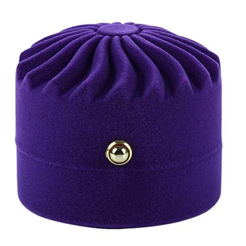 Ogquaton Belle ronde boîte à bijoux gâteau flanelle portable boîte cadeau boîte paquet cas pour collier boucle d'oreille portable et utile