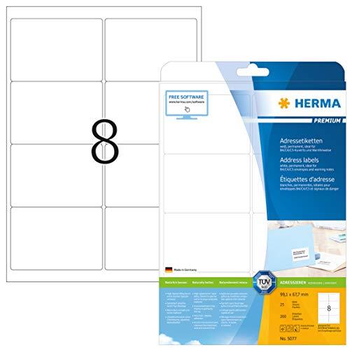 Preisvergleich Produktbild HERMA 5077 Adressaufkleber DIN A4 (99, 1 x 67, 7 mm,  25 Blatt,  Papier,  matt) selbstklebend,  bedruckbar,  permanent haftende Universal Etiketten,  200 Klebeetiketten,  weiß