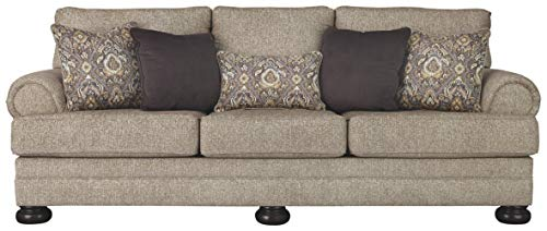 Signature Design by Ashley - Kananwood Traditional Sofa Sleeper w/ 5 Accent Pillows - Queen Mattress - Oatmeal