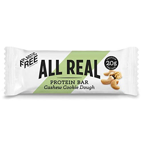 All Real 100% Natural Plastic Free Protein Bars - Cashew Cookie Dough 60g 16 Pack |Sustainable Nutrition | Plastic Free Packaging | All Natural Ingredients | 20g Protein Bar