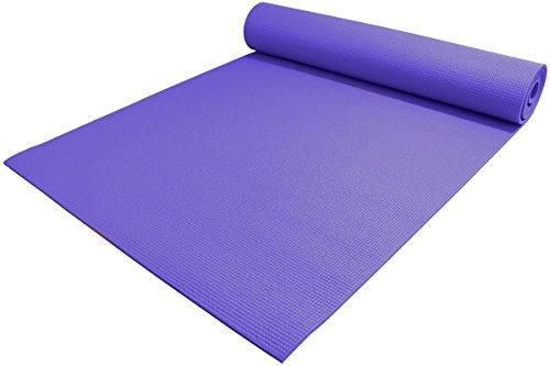 YogaAccessories 1/4' Thick High-Density Deluxe Non-Slip Exercise Pilates & Yoga Mat, Dark Purple