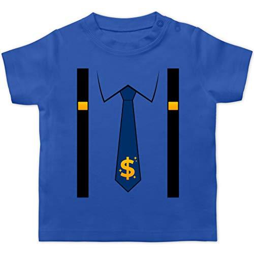 Karneval und Fasching Baby - Anzug Kostüm mit Dollarzeichen Krawatte - 3/6 Monate - Royalblau - Geschenk - BZ02 - Baby T-Shirt Kurzarm