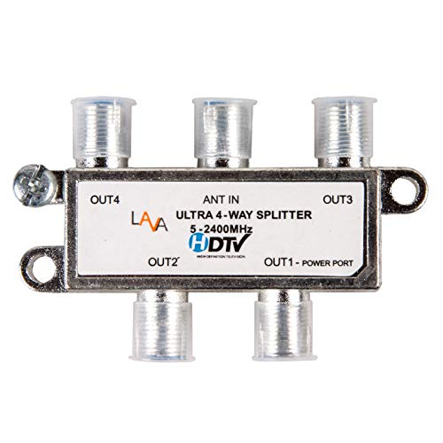LAVA 4 Way High Performance Coax Cable Splitter, 5-2400 MHz, RG6 Compatible, Works with HD TV, Satellite, High Speed Internet, Amplifier, Antenna w/ High shielding structure