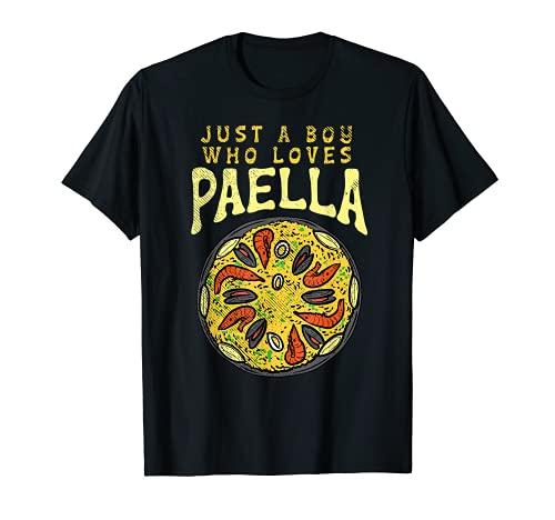 Un ragazzo che ama Paella Valenciana cibo Foodie divertente spagnolo Maglietta