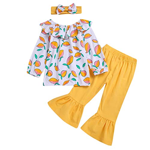Baby Girl Cute Cartoon Fruit Long Sleeves Shirt Top+Flare Pants+Headband Clothes Set 3pcs (Color : Yellow, Size : 2Y-3Y)