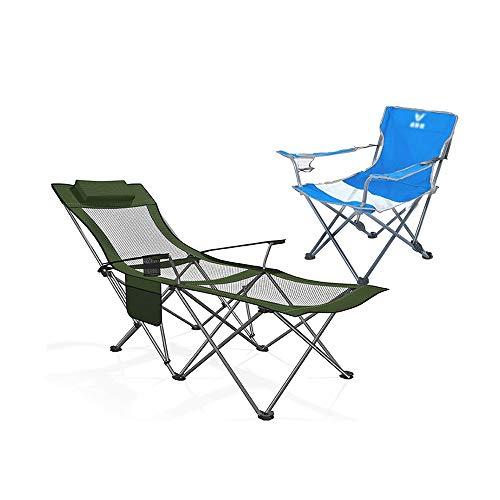 Silla Plegable de Camping Sillón Reclinable, Silla Portátil para Acampar Con Reposacabezas para...