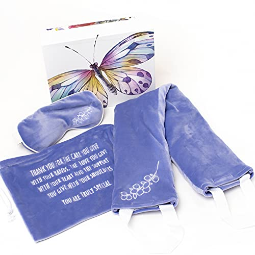 Thank You Gifts for Women, Aromatherapy Lavender Cooling Heated Neck Wrap, Eye Mask Set, Appreciation Gifts, Relaxing Gifts for Women, Birthday Gifts for Mom from Daughter, Self Care Package for Women