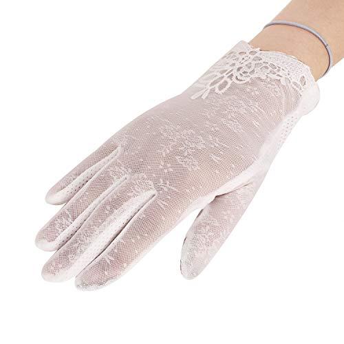 YJZQ Damen Hübsch Handschuhe Spitze Weiß Damenhaft Retro Handschuhe Edel Sommer Satin Handschuhe Dünner Abschnitt Lace für Hochzeit Opera Tanzparty Party Reiten Schwarz