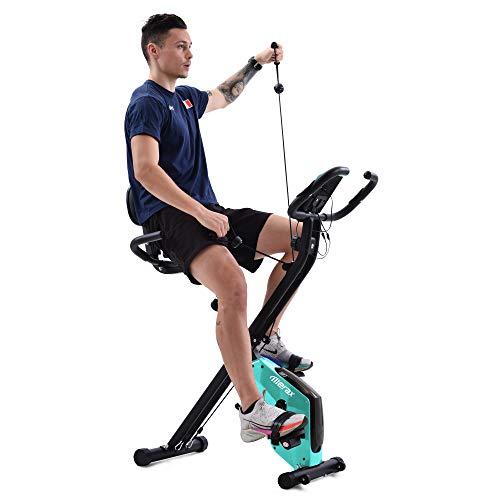 X-Bike Heimtrainer mit Pulssensoren, Fitnessrad für Heimtrainer, gepolsterter Sitz und Rückenlehne (blau)