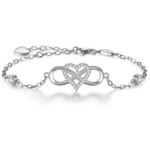 Magnifique bracelet en argent pour femme, symbole cœurs