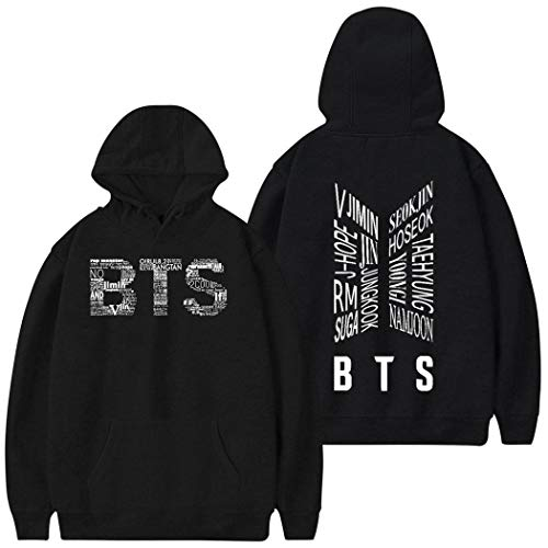 Casual Hooded Sweatshirts B-T-S Long Sleeve Pullover Hoodie Tops for Men,Women,Youth Black