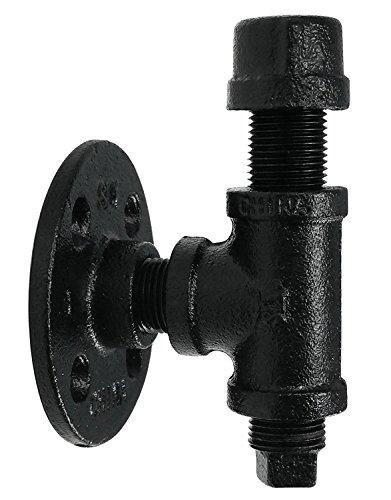 Pipe Decor - Kit de gancho para toalla y ropa, resistente, estilo DIY, rústico y chic, tubo de hierro industrial con acabado galvanizado negro, montaje en pared, 1 gancho